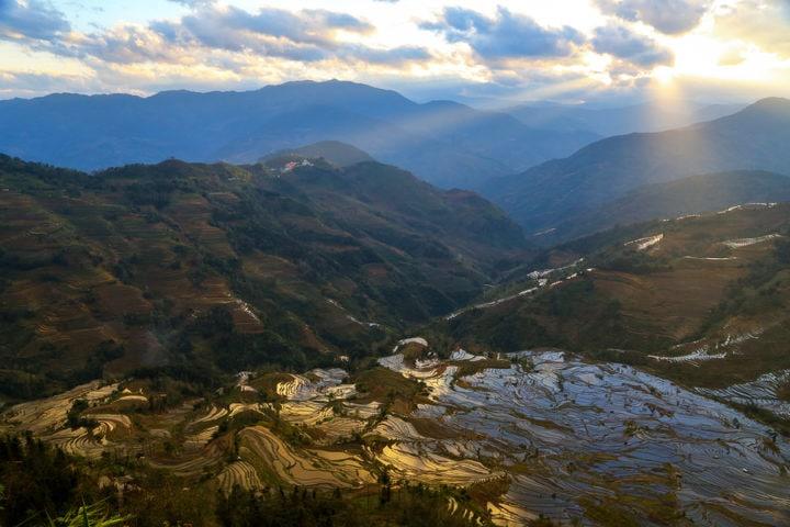 Terraced rice fields in Yuan Yang County, China motorbike tours
